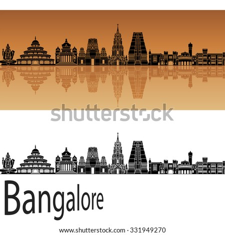 Bangalore skyline in orange background in editable vector file - stock vector