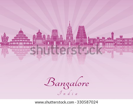 Bangalore skyline in purple radiant orchid in editable vector file - stock vector