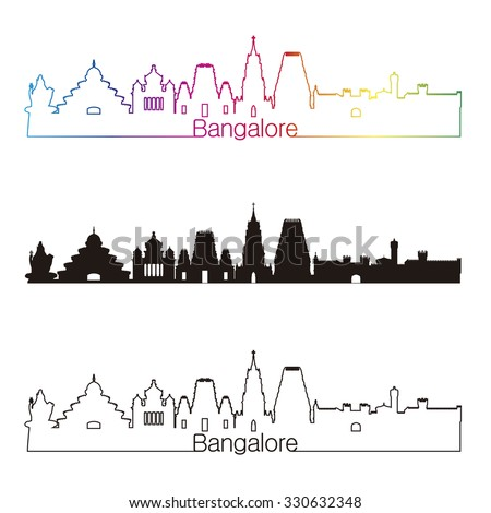 Bangalore skyline linear style with rainbow in editable vector file - stock vector