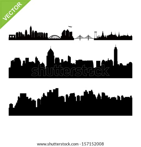 Bangkok landmark and skyline silhouettes vector - stock vector
