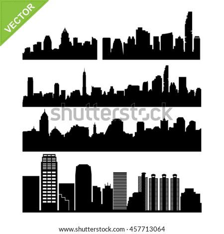 Bangkok skyline silhouettes vector set 2 - stock vector