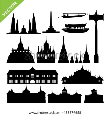 Bangkok symbol and landmark silhouettes vector set 2