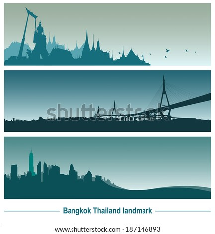 Bangkok Thailand landmark, vector Illustration.