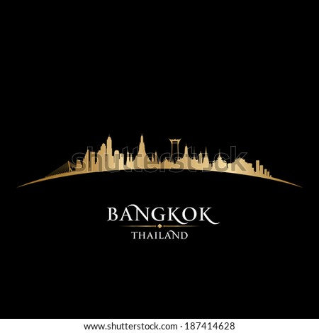 Bangkok Thailand skyline Detailed vector silhouette - stock vector