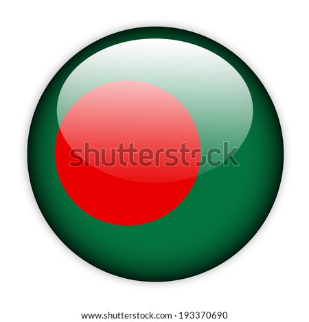 Bangladesh flag button on white - stock vector