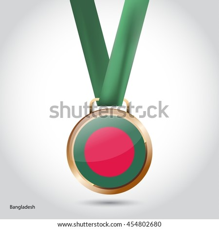 Bangladesh Flag in Bronze Medal. Olympic Game Bronze Medal. Vector Illustration - stock vector