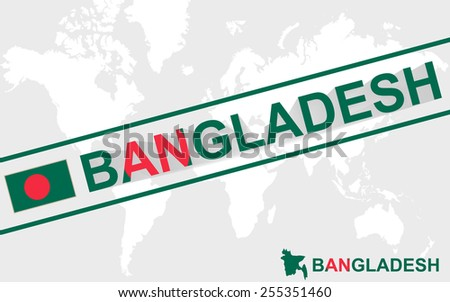 Bangladesh map flag and text illustration, on world map - stock vector