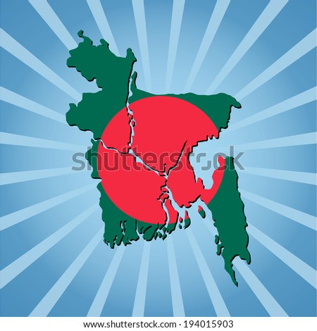 Bangladesh map flag on blue sunburst vector illustration