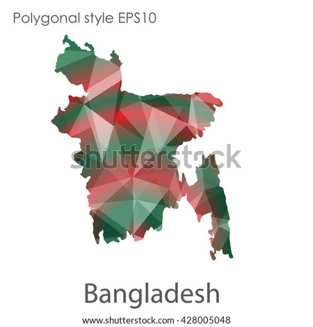 Bangladesh map in geometric polygonal style. Abstract triangle, modern design background.