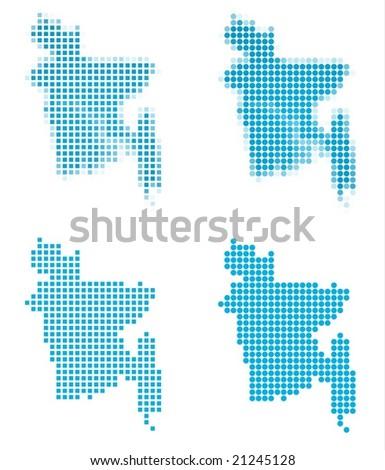 Bangladesh map mosaic set. Isolated on white background. - stock vector