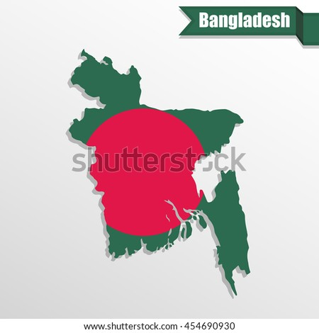 Bangladesh map with flag inside and ribbon