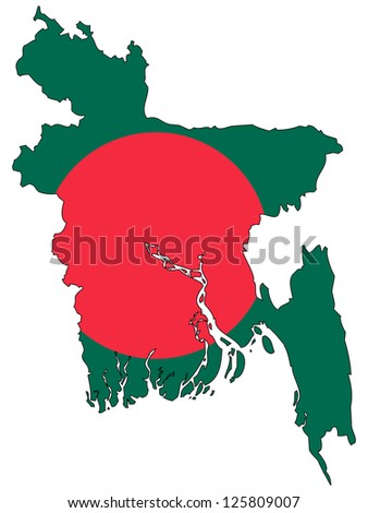 Bangladesh vector map with the flag inside.