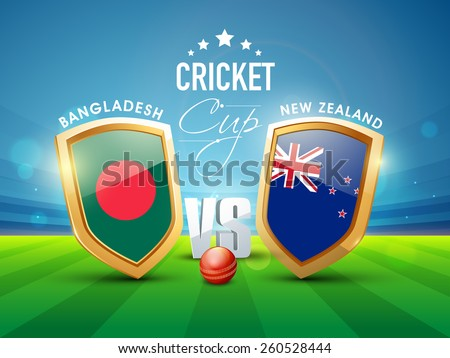 Bangladesh Vs New Zealand Cricket match concept with glossy shield of their countries flags. - stock vector