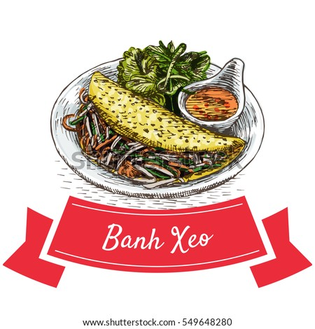 Banh Xeo colorful illustration. Vector illustration of Vietnamese cuisine.