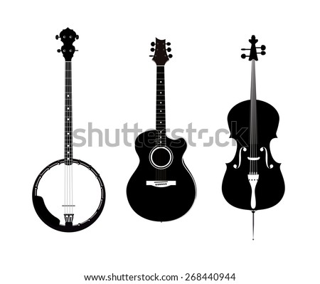 Banjo, Acoustic Guitar and Banjo - Set of orchestra and folk instruments, Vector Illustrations in black and white isolated on transparent background - stock vector