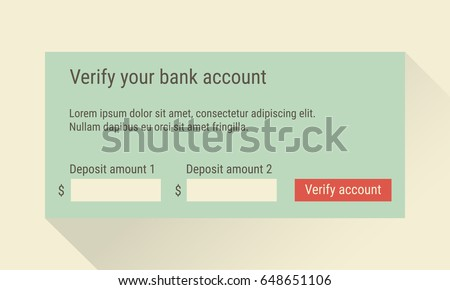 bank account verification form account confirmation stock vector
