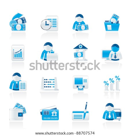 Bank and Finance Icons - Vector Icon Set - stock vector