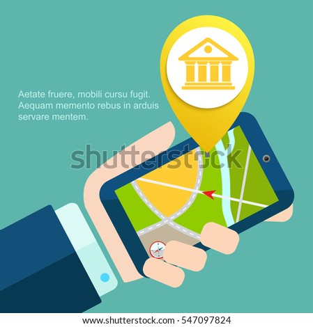 Bank app page on smart phone screen. the hand of man in suit holding delovom smart background. Creative flat design vector illustration