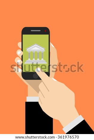 Bank app page on smartphone screen. Hand hold smartphone, finger touch screen. Online bank account. Modern concept for web banners, web sites, infographics. - stock vector