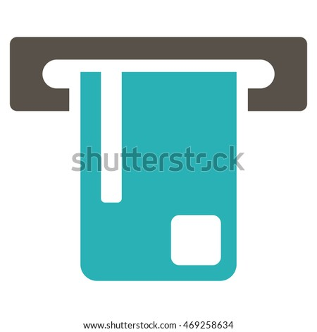Bank ATM icon. Vector style is bicolor flat iconic symbol with rounded angles, grey and cyan colors, white background.
