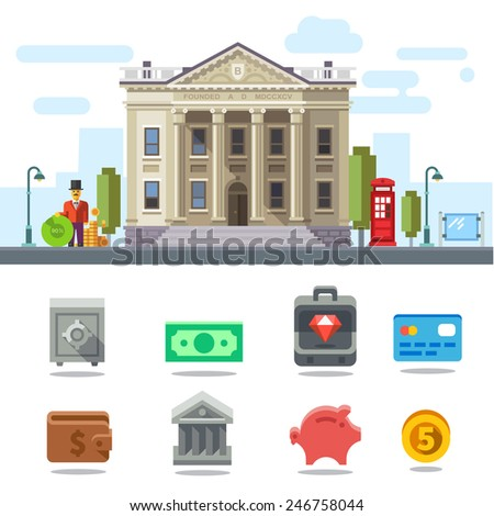 Bank building. Cityscape. Symbols of Business and Finance: money, safe, case, diamond, card, purse, piggy bank, coin. Vector flat illustration - stock vector