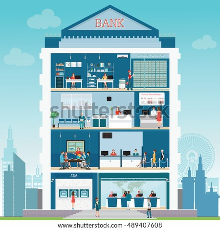 Bank interior stock images royalty free images vectors - Standard bank head office contact details ...