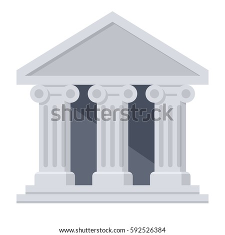 Bank building in flat style on white background