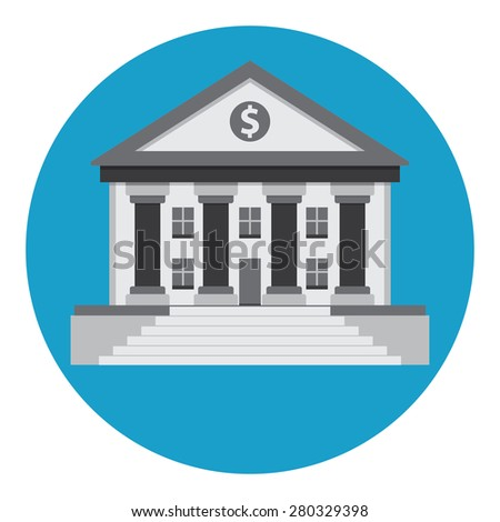Bank building in the style of a classical Greek or Roman temple.  - stock vector