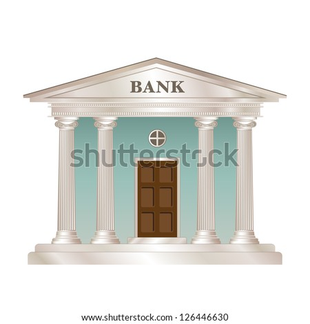Bank building in the style of a classical Greek or Roman temple. EPS10 vector format. - stock vector