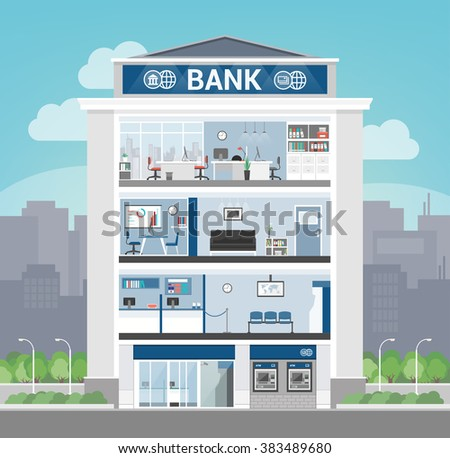 Bank building interior with office, front desk, waiting room, entrance and self service atm, banking and finance concept - stock vector