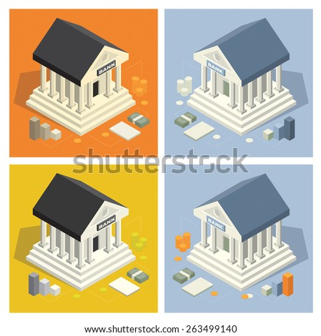 bank building isometric icons - stock vector