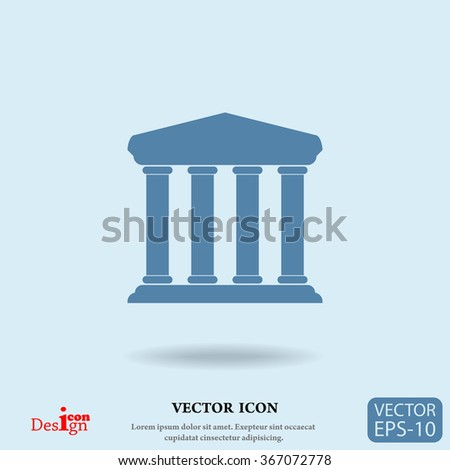 bank building vector icon - stock vector