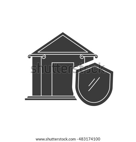 bank building with finance icon vector illustration design