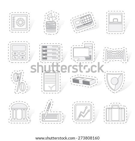bank, business, finance and office icons vector icon set - stock vector