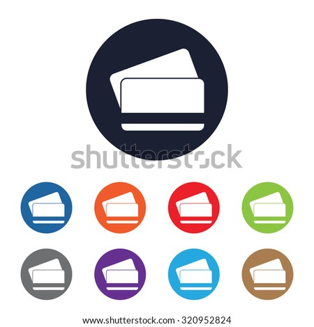 Bank card icon for web and mobile - stock vector