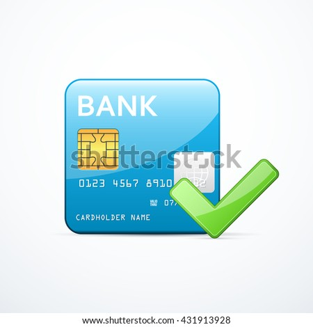 Bank card icon with check mark