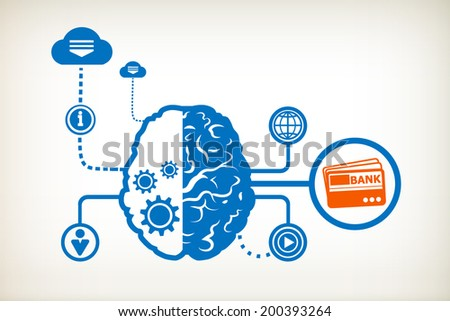 Bank cards and abstract human brain, the concept of the information movement - stock vector