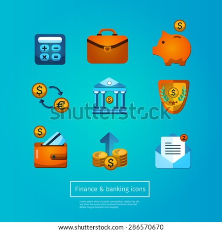 Bank collection, finance set, business icons flat design. - stock vector
