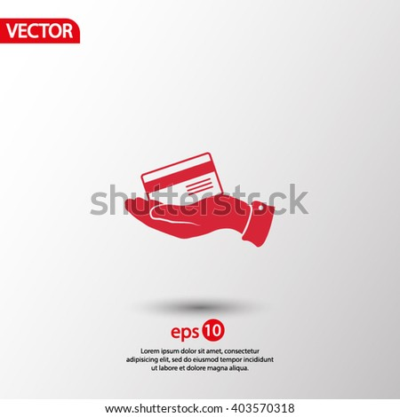 Bank credit card with hand, vector illustration.   - stock vector