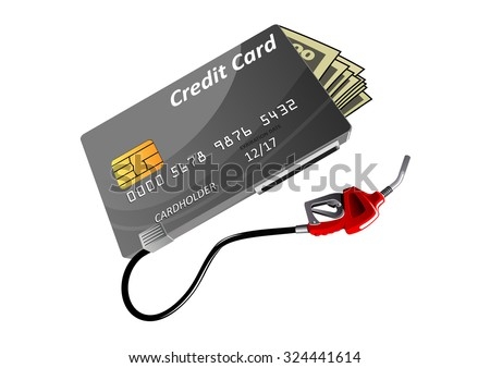 Bank credit card with money bills and red gas nozzle isolated on white background, for oil industry or business concept theme design - stock vector