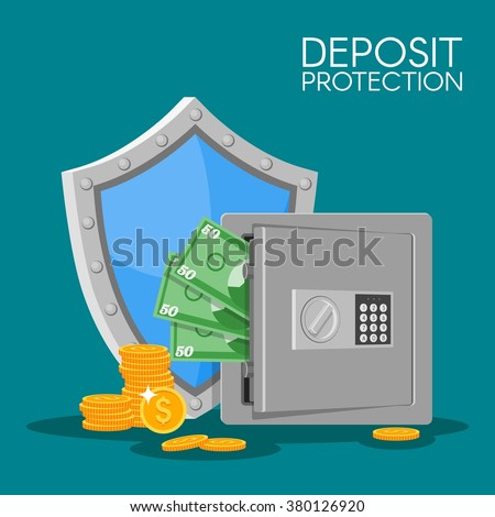 Bank deposit vector illustration in flat style. Save your money concept. Dollar banknotes and coins in safe. Finance security. Deposit money background. - stock vector