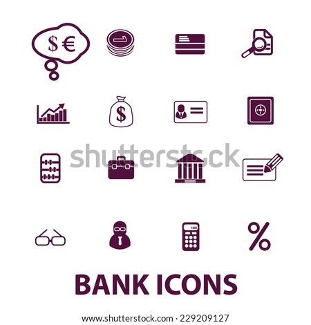 bank, finance icons, signs set, vector