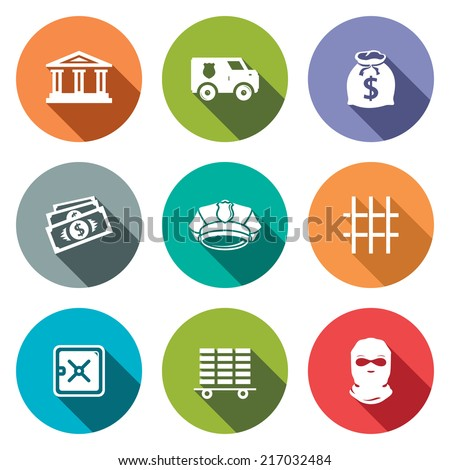 Bank flat icons set - stock vector