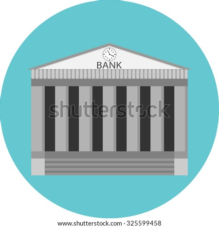 Bank icon flat label. Building government, business and money, finance architecture, banking house, financial. vector art design abstract unusual fashion illustration - stock vector