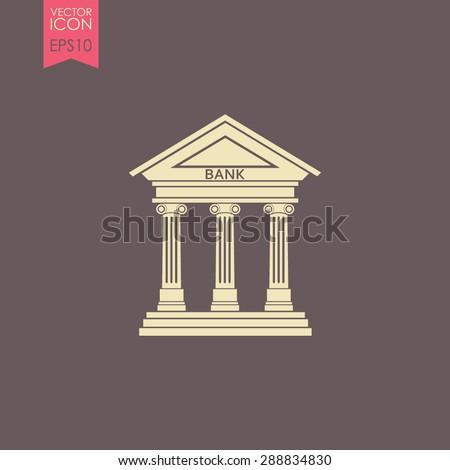 Bank icon with the building facade with three pillars. Vector. - stock vector