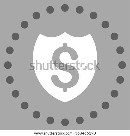 Bank Insurance vector icon. Style is bicolor flat circled symbol, dark gray and white colors, rounded angles, silver background. - stock vector