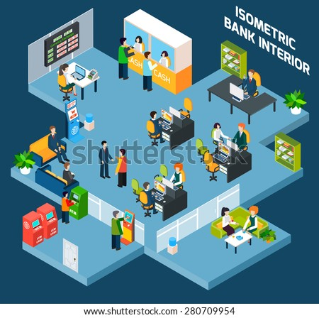 Bank interior isometric with 3d office and business people vector illustration - stock vector