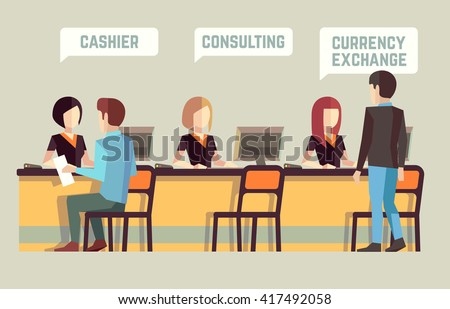 Bank interior with cashier, consulting, currency exchange. Banking concept. Finance, staff manager, visitor, client office. Vector illustration - stock vector