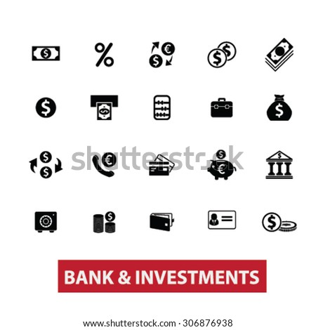 bank, investment, money, investing, accounting black isolated icons, signs, illustrations for web, application, internet on white background - stock vector
