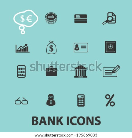 bank, money, investment icons set, vector